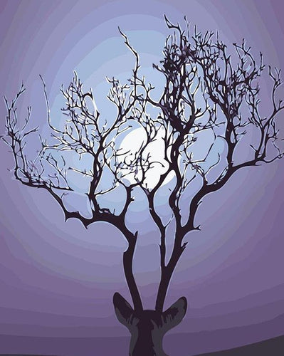 Deer Antlers Fantasy Tree Paint by Numbers