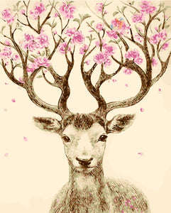 Deer Antlers Floral Tree Paint by Numbers