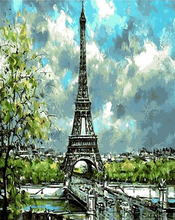Load image into Gallery viewer, Eiffel Tower & Trees Paint by Numbers