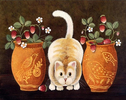 Flower Pots & Cat Paint by Numbers