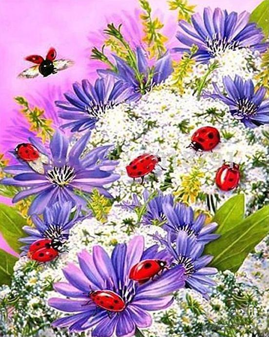Flowers & Ladybugs Paint by Numbers