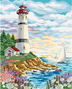 Flowers & Light House Paint by Numbers