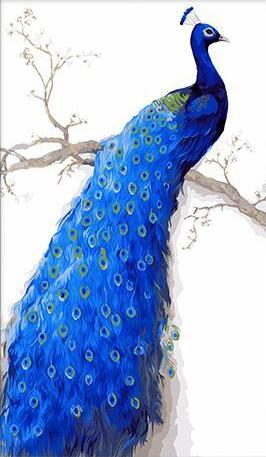 blue Peacock Paint by Numbers