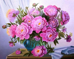 Gorgeous Pink Flowers Paint by Numbers