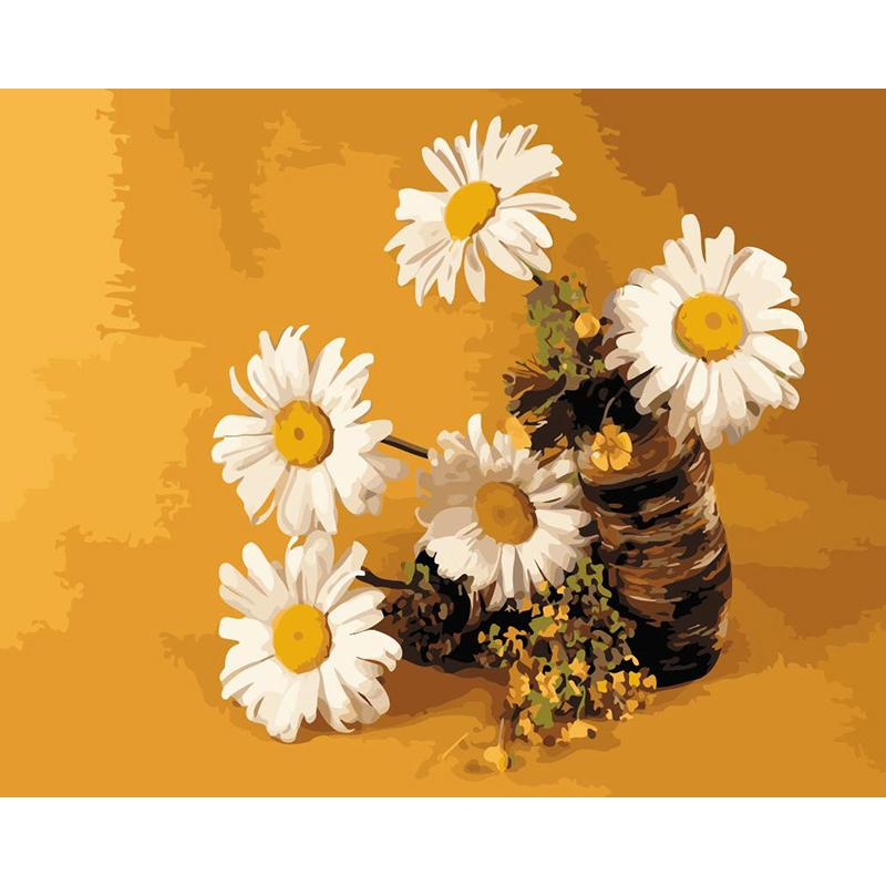 Gorgeous White Daisies Paint by Numbers