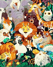 Load image into Gallery viewer, Jungle Animals & Birds Paint by Numbers