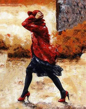 Load image into Gallery viewer, Lady in Red & Black Paint by Numbers