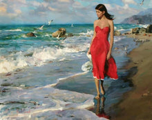 Load image into Gallery viewer, Lady on Beach Paint by Numbers