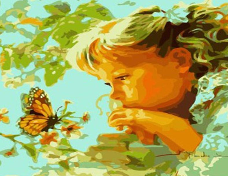 Little Girl & Butterfly Paint by Numbers