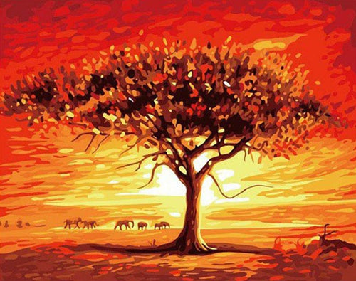 Desert Tree Paint by Numbers