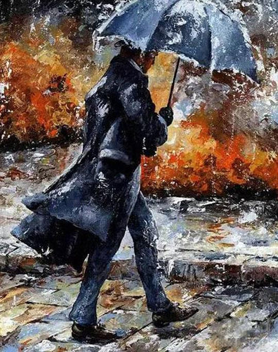Man Walking in Rain Paint by Numbers