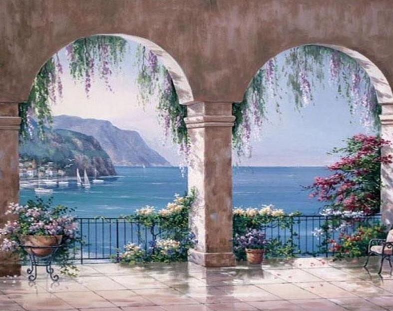 Mediterranean Arch View Paint by Numbers