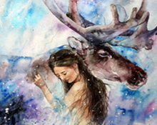 Load image into Gallery viewer, Moose & Girl Paint by Numbers