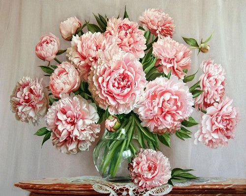 Pink Peonies Paint by Numbers