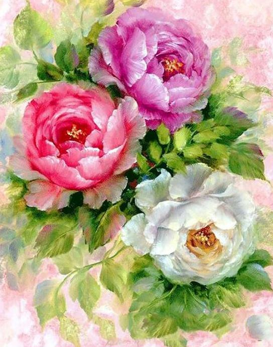 Colorful Peonies Paint by Numbers