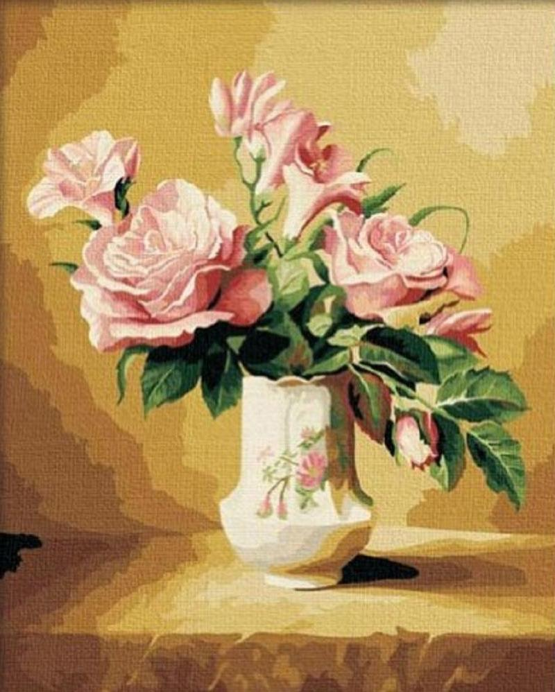 Pink Roses Painting by Numbers