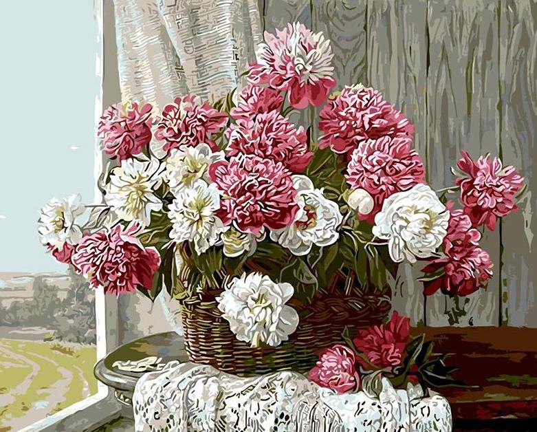 Pink & White Flowers Painting by Numbers