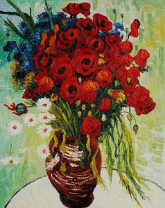 Poppies Vase Paint by Numbers