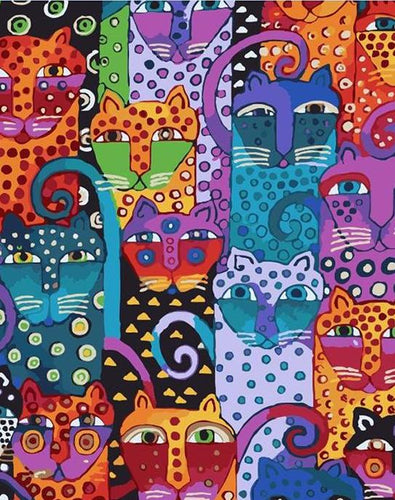 Psychedelic Cat Art Paint by Numbers
