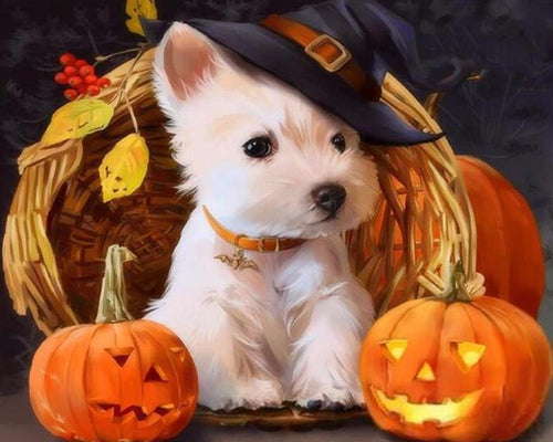Puppy on Halloween Paint by Numbers