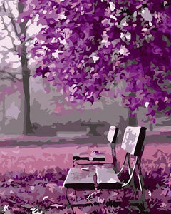 Purple Trees Paint by Numbers