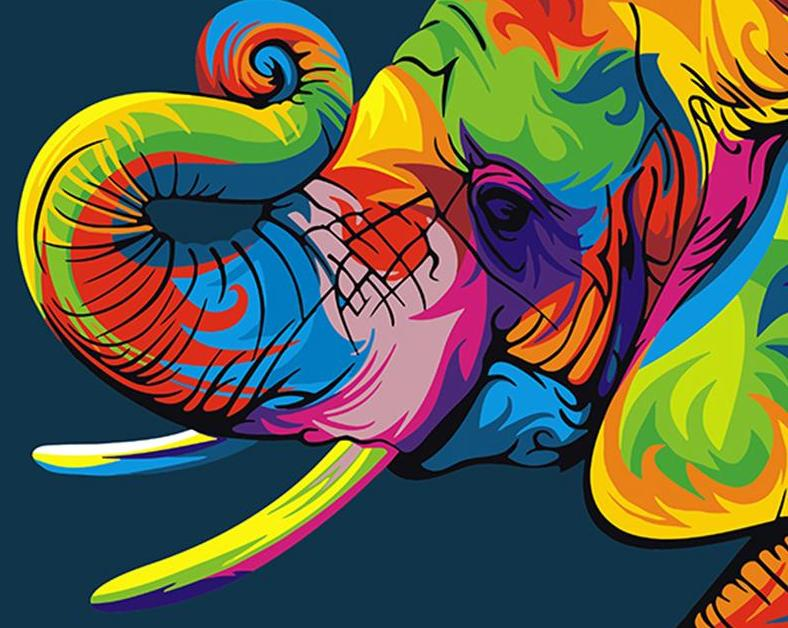 Rainbow Elephant Paint by Numbers
