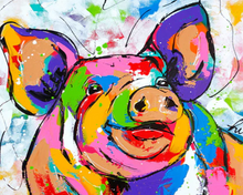 Load image into Gallery viewer, Rainbow Pig Paint by Numbers