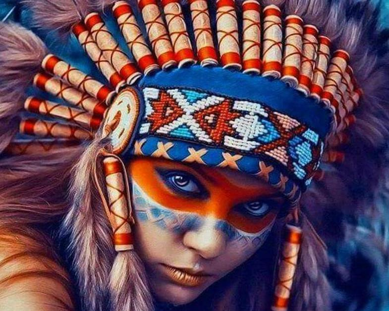 Red Indian Girl Paint by Numbers