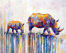 Load image into Gallery viewer, Rhino with Baby Paint by Numbers
