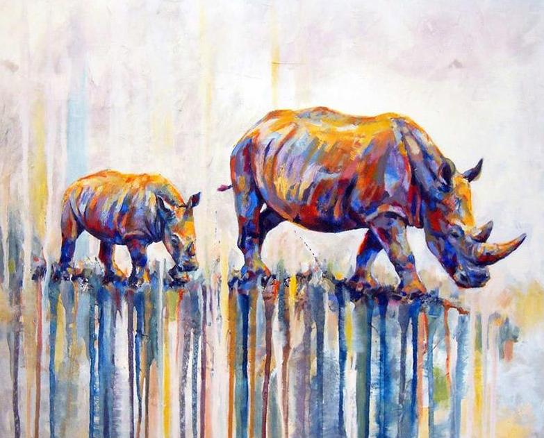 Rhino with Baby Paint by Numbers