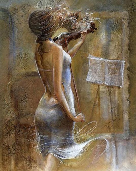 Girl Playing Violin Paint by Numbers