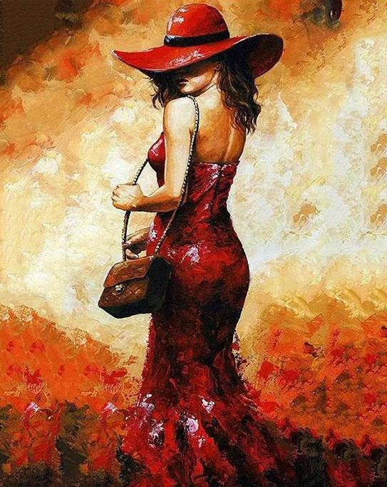 Lady with Hat Bag Paint by Numbers