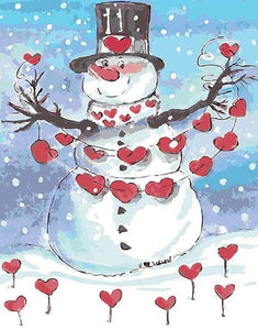 Valentine Snowman Paint by Numbers