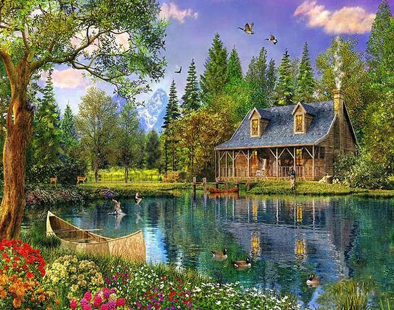 Water Pond & House Paint by Numbers