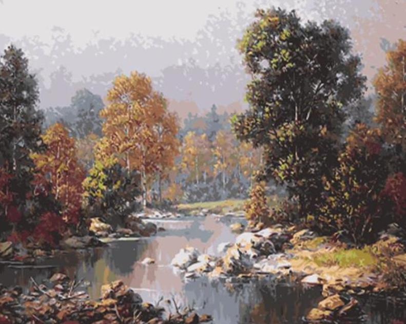 Water Stream & Forest Trees Painting Kit