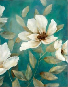 White Flowers Painting by Numbers