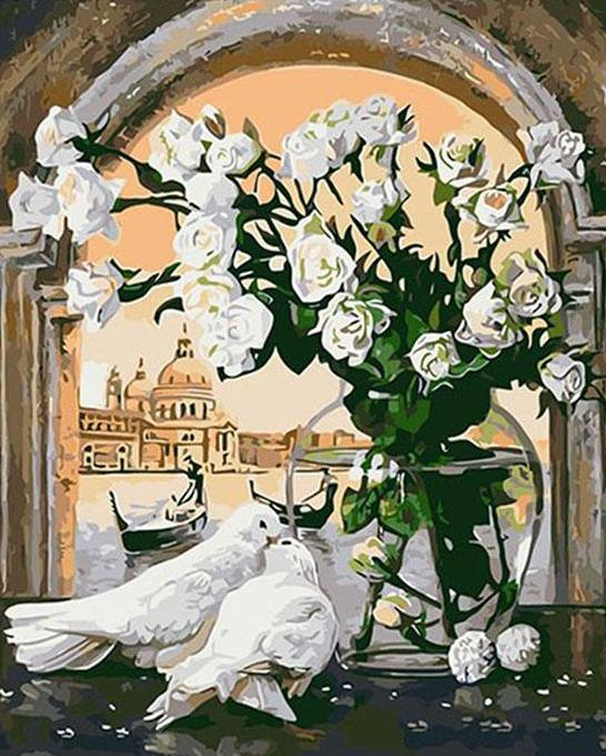 Pigeons & Flowers Paint by Numbers