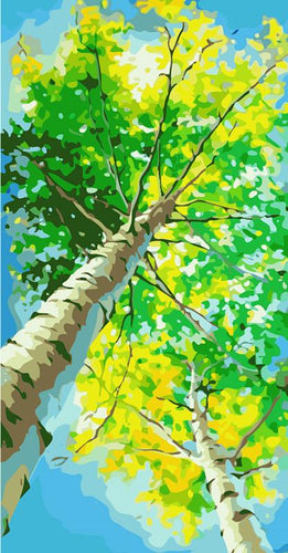 Yellowish Green Trees Paint by Numbers
