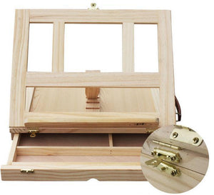 Portable Wooden Box with Sliding Drawer for Art Supplies