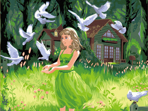 Little Girl & Pigeons Paint by Numbers