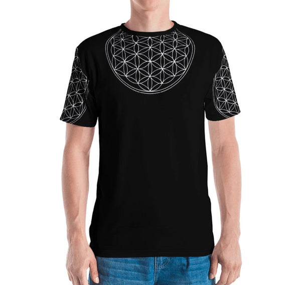 Flower of Life Armour - Black Men's T-shirt-Zulu Moon Market