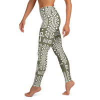 Tribal Ankh - Green Leggings-Zulu Moon Market