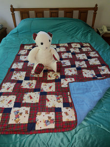 Red Plaid Cotton Child's Quilt with Matching Bear