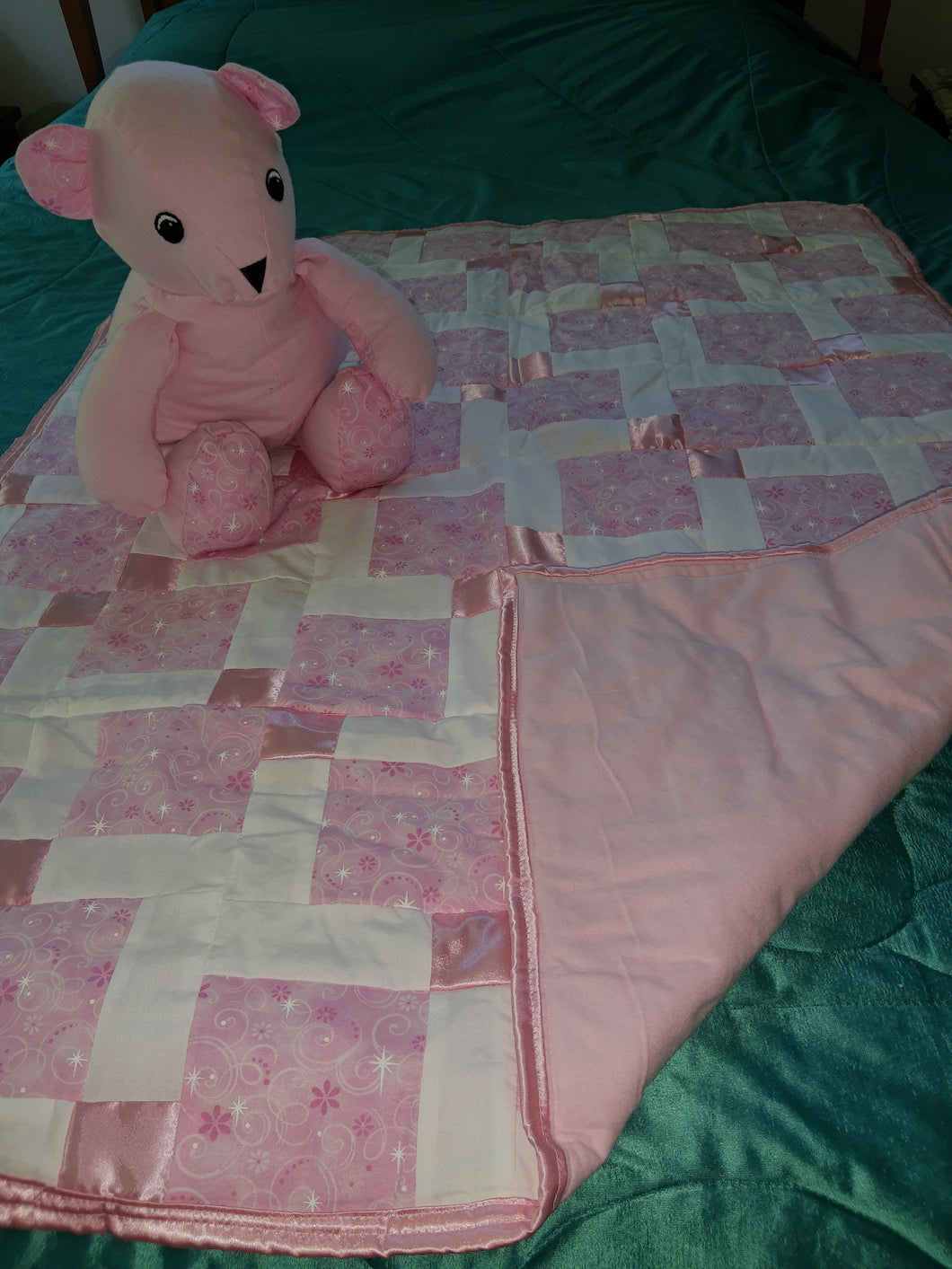 Pink Faerie Stars Cotton Child's Quilt with Matching Bear