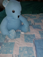 Load image into Gallery viewer, Blue Faerie Cotton Child's Quilt with Bear Set