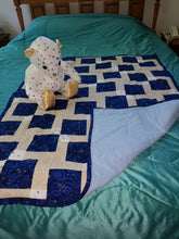 Load image into Gallery viewer, Navy with Stars Cotton Child's Quilt With Matching Bear Set