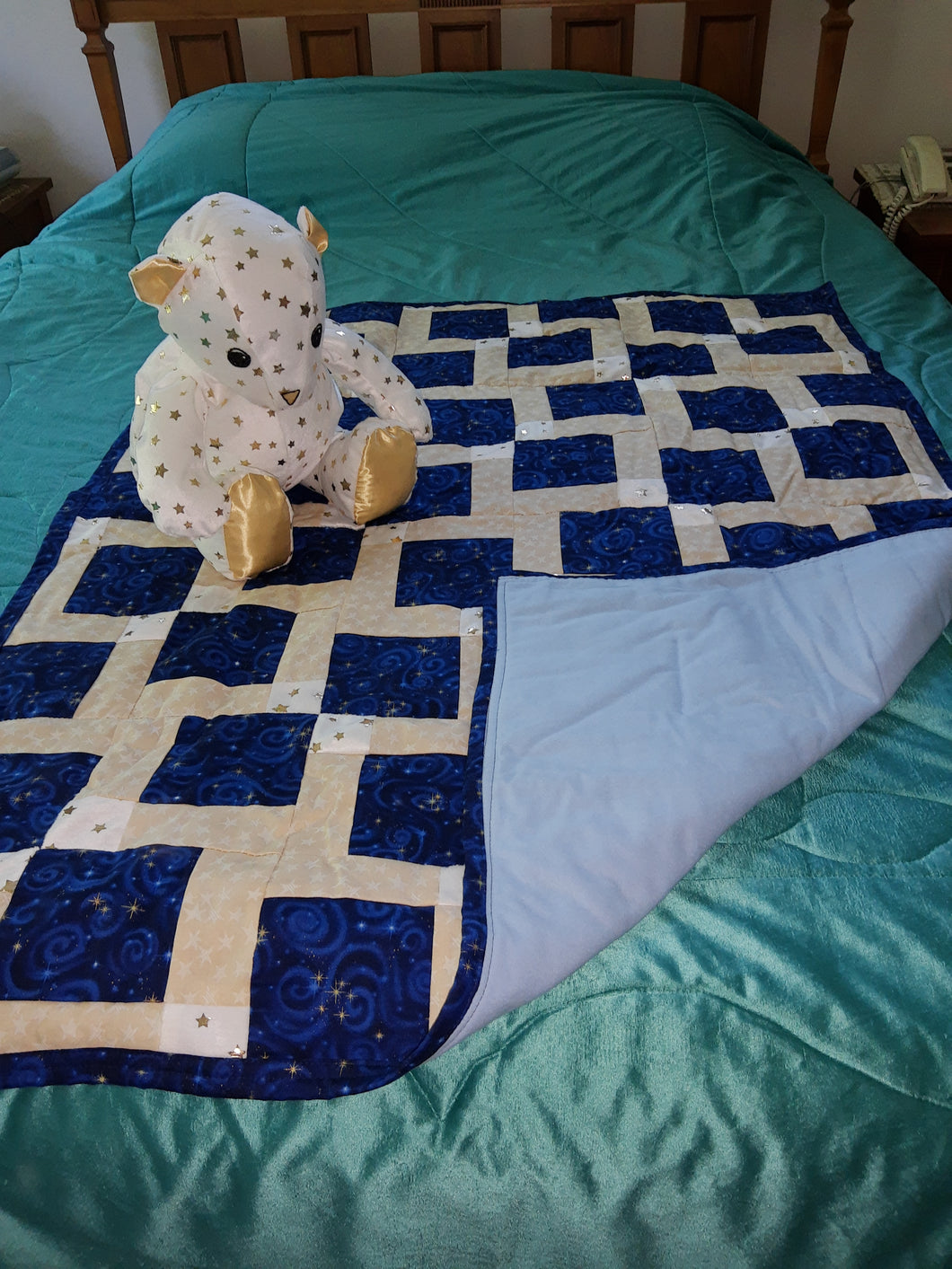 Navy with Stars Cotton Child's Quilt With Matching Bear Set