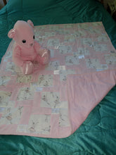 Load image into Gallery viewer, Pink Ballet Cotton with Satin Trim Child's Quilt With Matching Bear Set