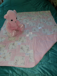 Pink Ballet Cotton with Satin Trim Child's Quilt With Matching Bear Set