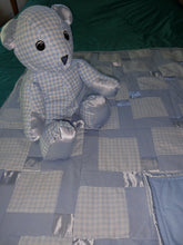 Load image into Gallery viewer, Blue Gingham Cotton and Satin  Baby Quilt with Matching Bear Set